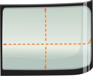 graphic of half of a two-piece windshield with measurement arrows from top to bottom and side to side, crossing at the center of the windshield