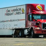 Oak Harbor Freight Lines truck shipping windshields and side glass from Coach Glass